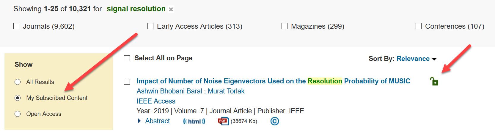 IEEE full text filter