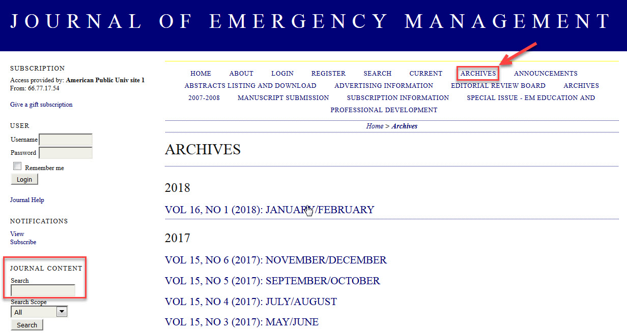 Journal of Emergency Management Archives