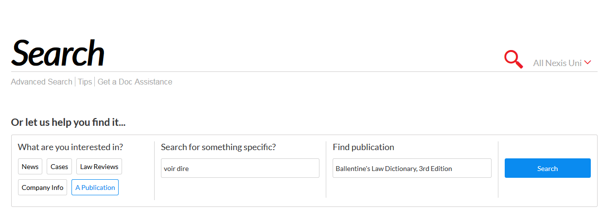 Find a dictionary in Nexis Uni
