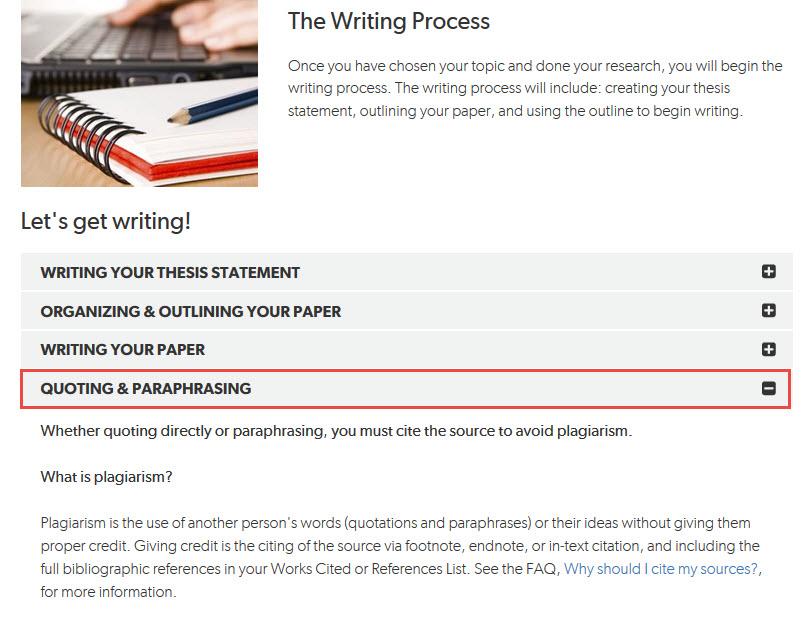 Writing Process page