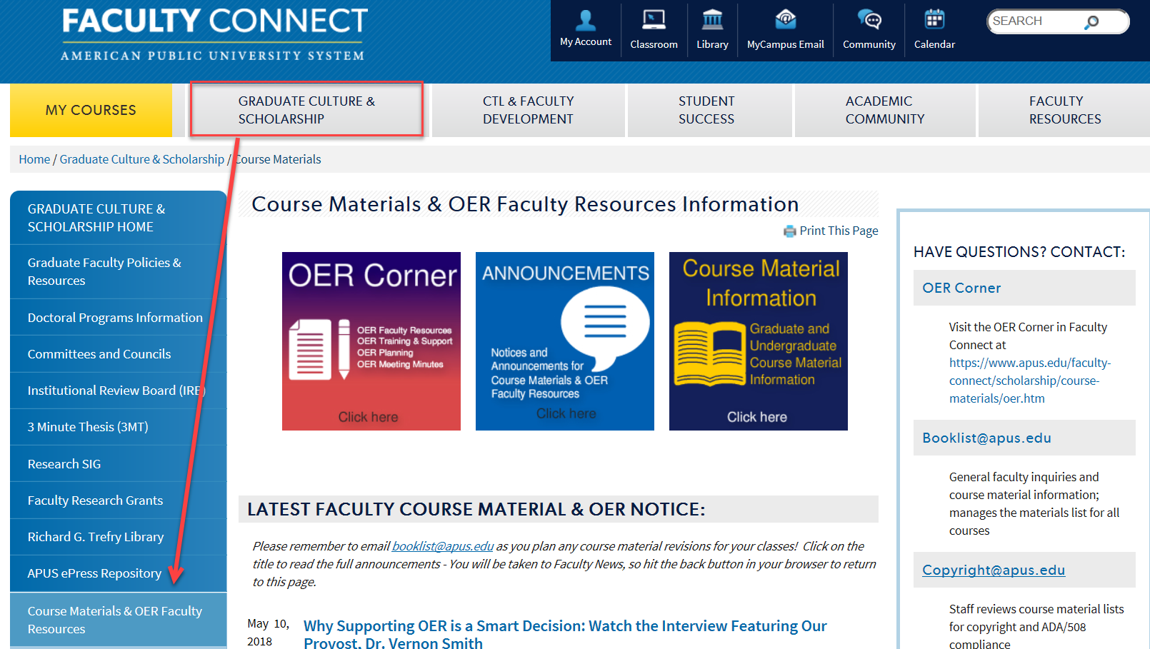 course materials information in Faculty Connect