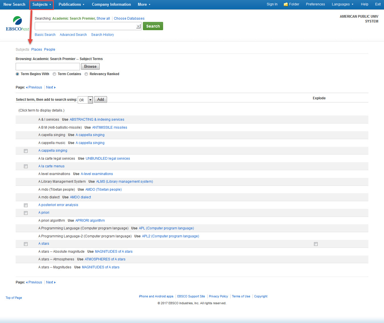 Subject headings in an EBSCO database