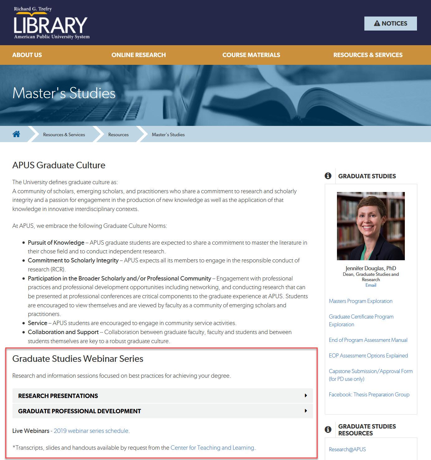 Graduate webinar recordings