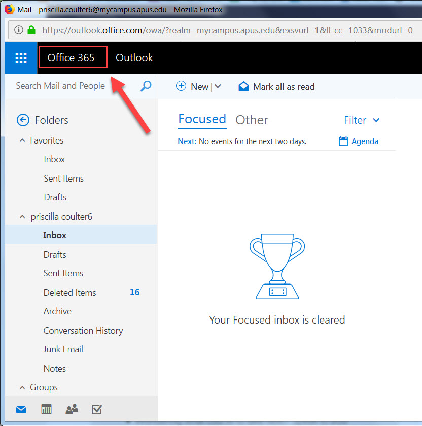 Office 365 link in MyCampus email