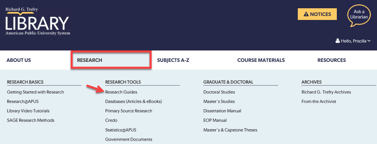 Research guides linked on the APUS Library website