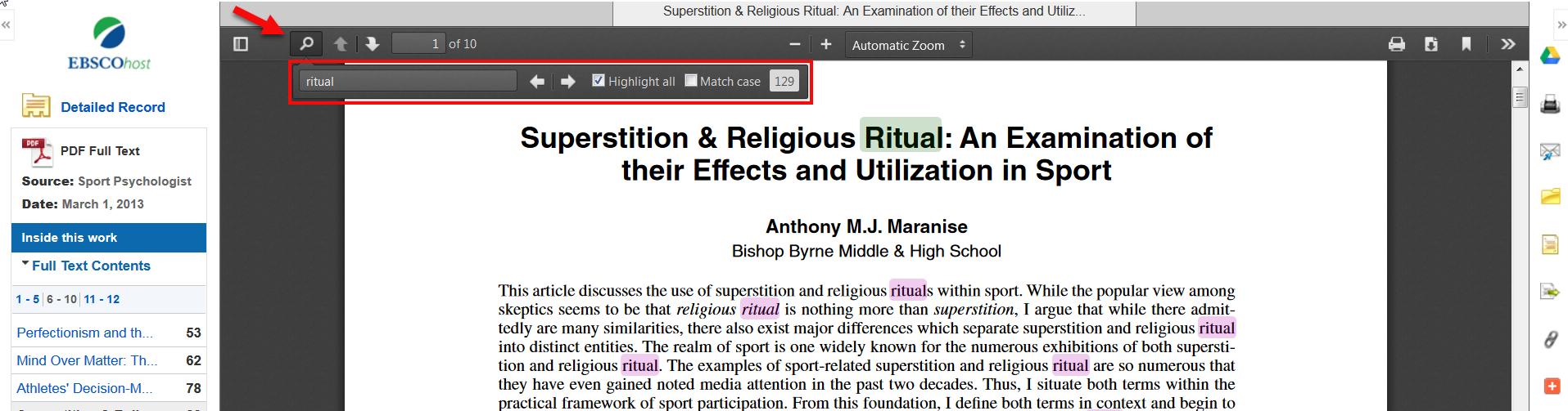 Search inside a PDF article