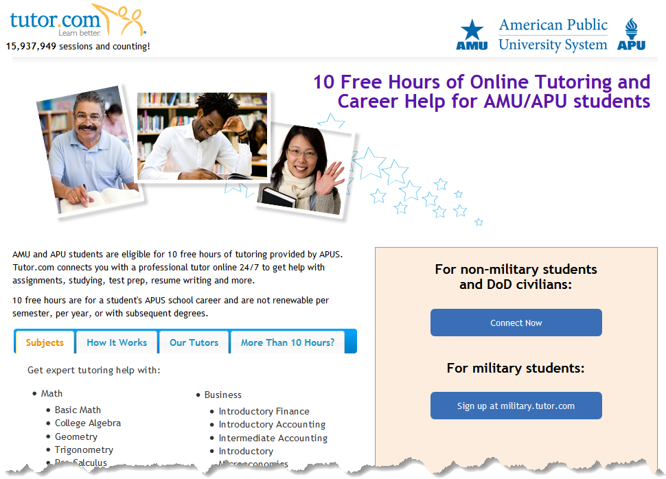 screenshot of Tutor.com sign up