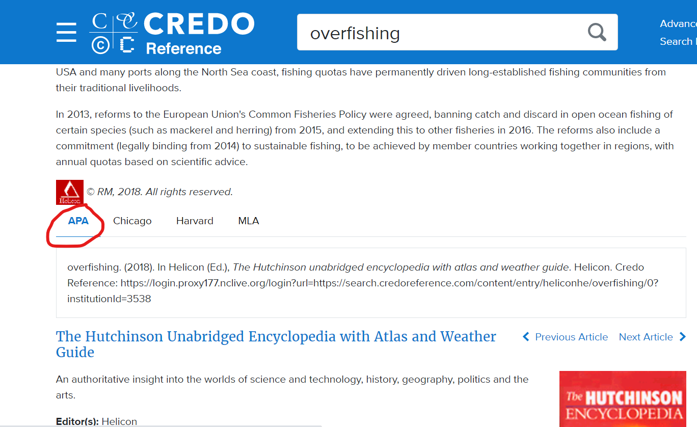 Cite link in Credo Reference