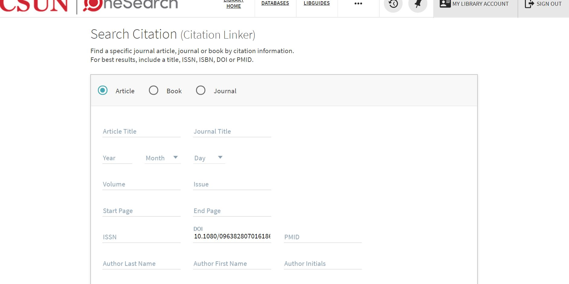 picture of Citation searcher with doi number inserted in Article template
