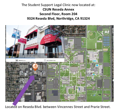 Map of the Legal Clinic which is located on the second floor of CSUN Reseda Annex, 9324 Reseda Blvd. Northridge, California.