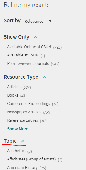 "The ""Refine my results"" section of OneSearch, highlighting the Topic section."