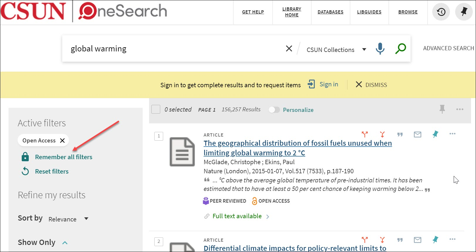 open access search