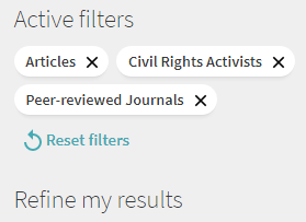 "Image of the ""refine my results"" toolbar with three ""Articles"", ""Civil Rights Activists"", and ""Peer-reviewed Journals"" filters applied."