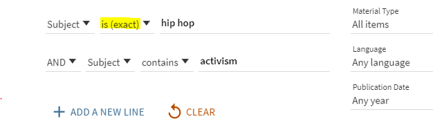 "Advanced search in OneSearch combining subjects  ""Hip Hop"" and ""Activism""."
