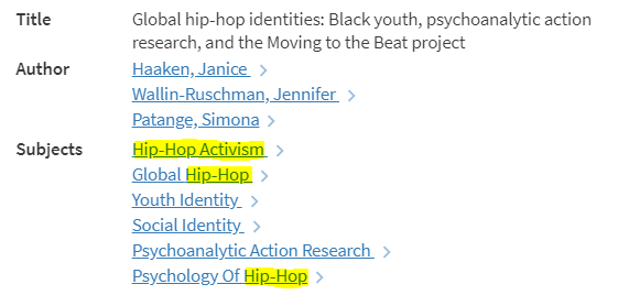 "List of topics assigned to the journal article ""Global Hip-hop identities"" highlighting the topics that include the search terms ""Hip-hop"" and ""activisim"""