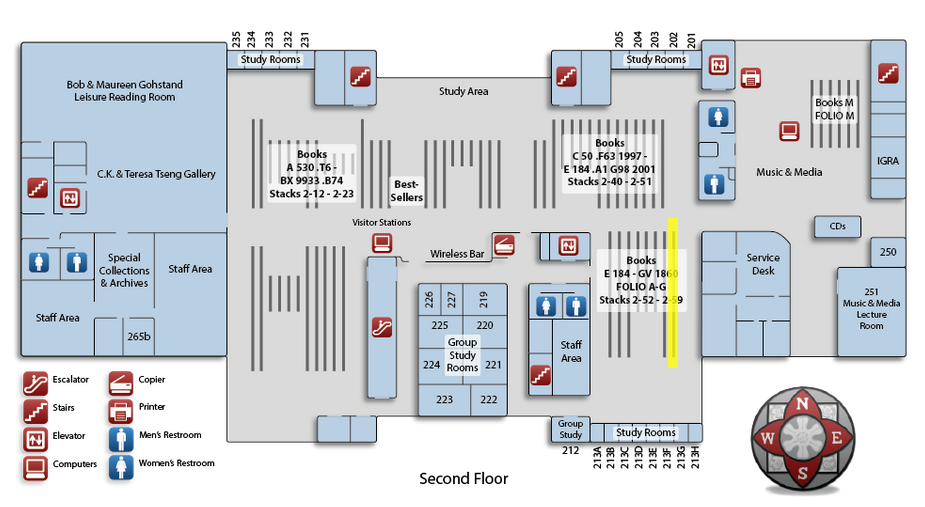 Map of the second floor of the Oviatt Library highlighting book range number 52 located in the southeast corner of the floor.