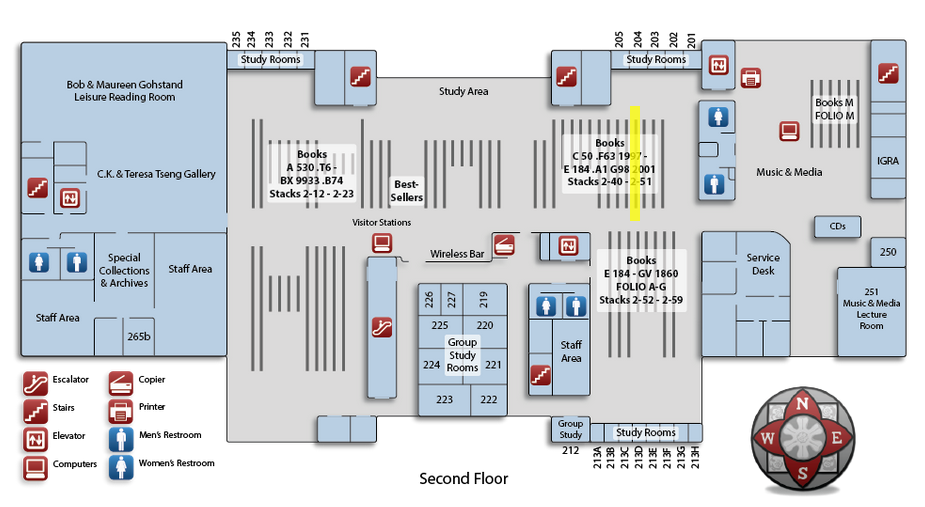 Map of the Oviatt Library second floor, highlighting book range number 49 in the north east corner of the floor.