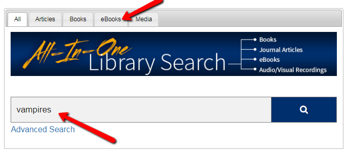 All In One Search box where students enter their search terms to find books, articles and other Library material.