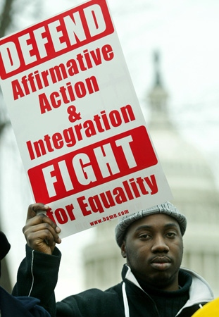 Affirmative action protester photograph