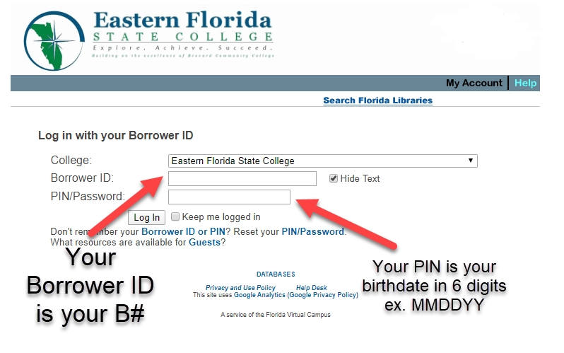 Log in page showing how to log in with your B# and PIN