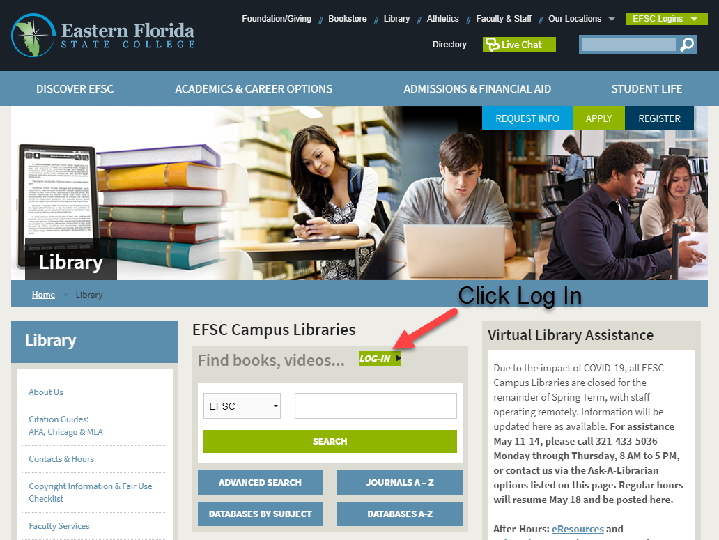 Library homepage with an arrow pointing to the log in button