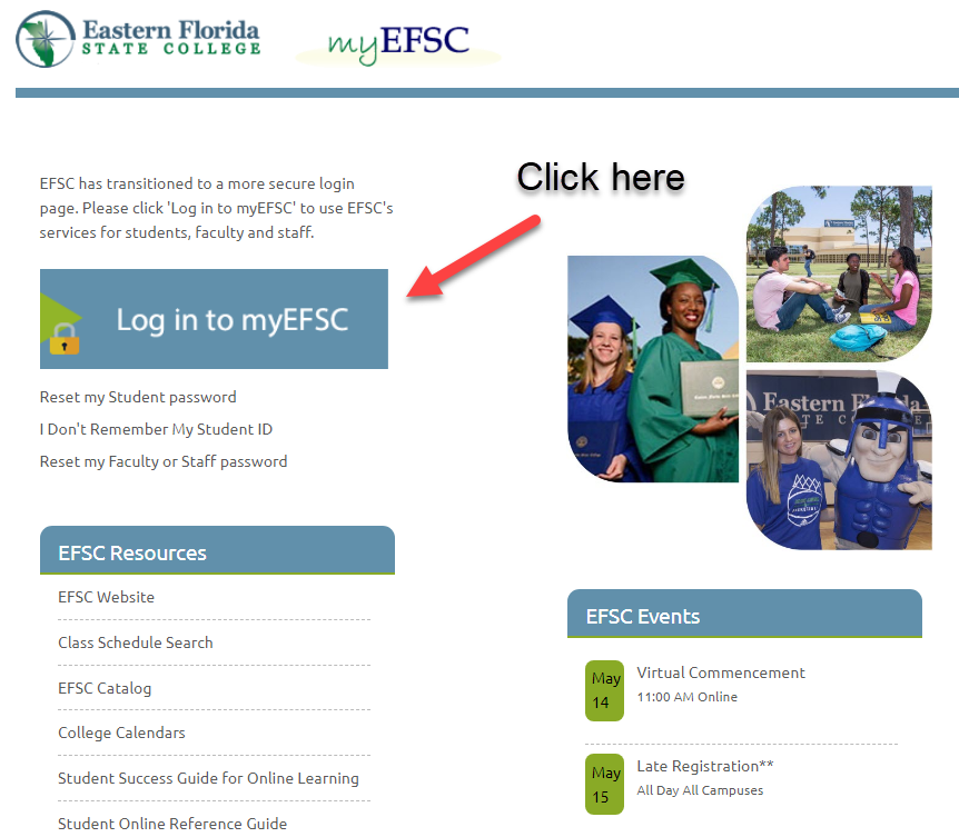 Arrow pointing to the Log In button on the MyEFSC website
