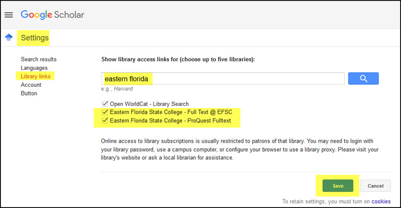 Google Scholar Settings Library Links