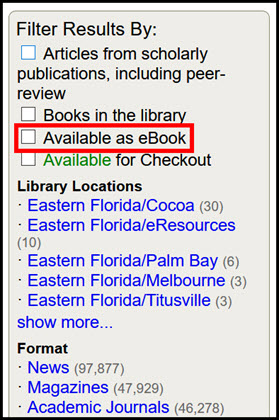 eBooks Filter in Mango Everything Search