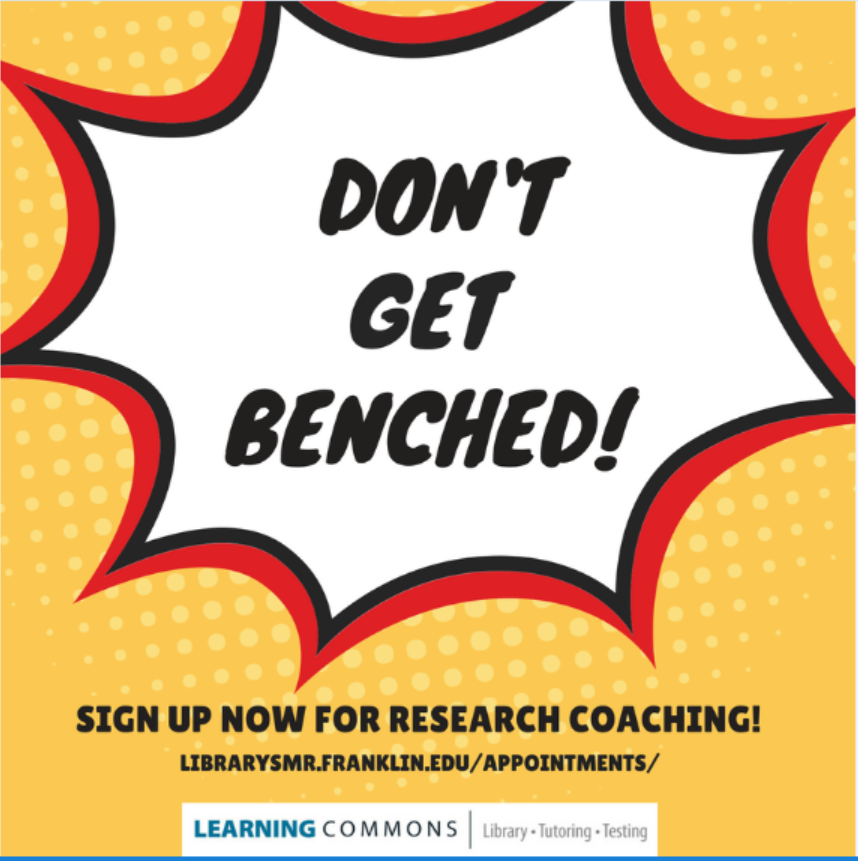 Don't Get Benched! Sign Up Now for research coaching!