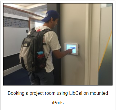Booking a room using LibCal mounted on iPads at Duke University