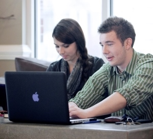 Library students on computer