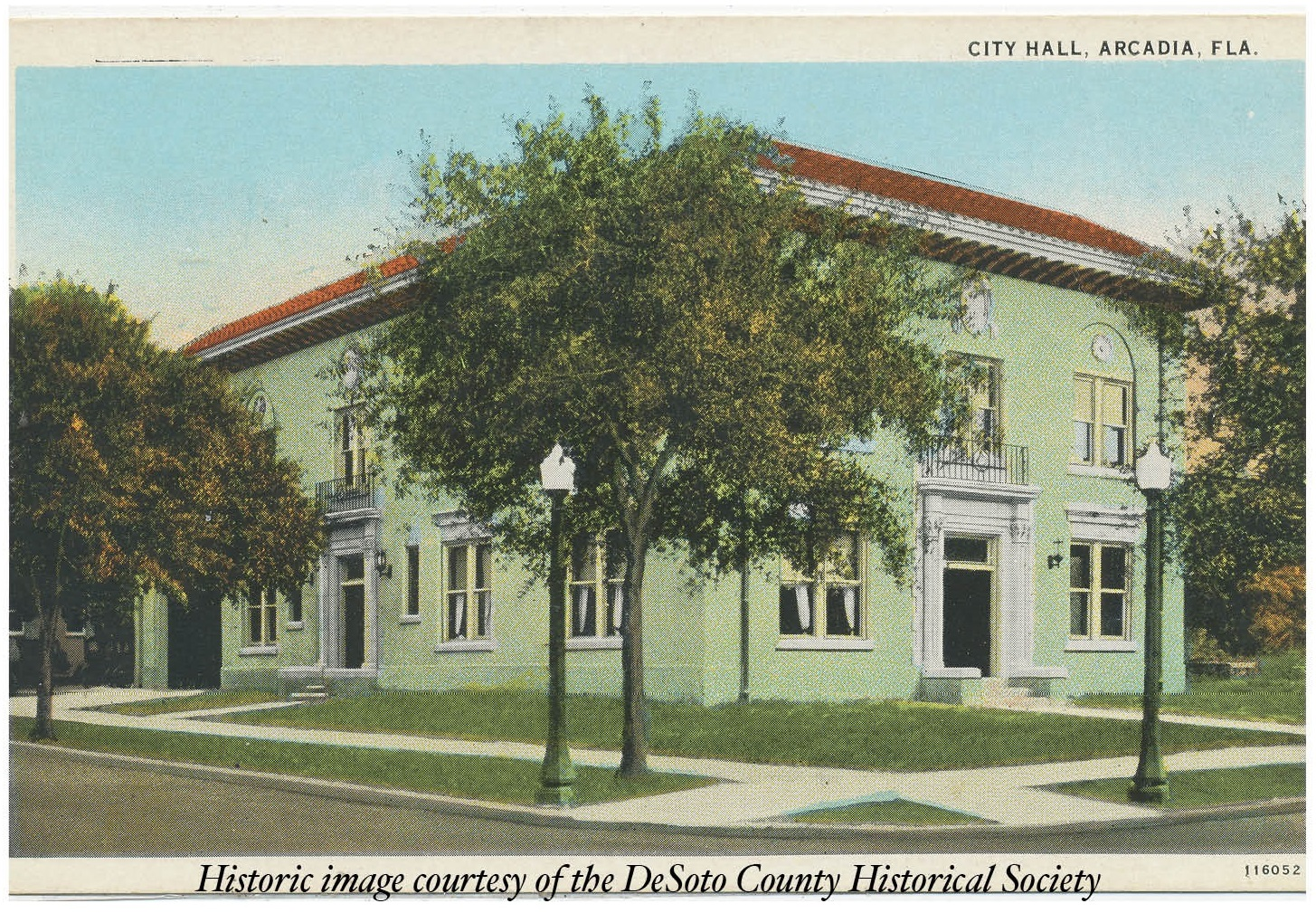 postcard of arcadia city hall