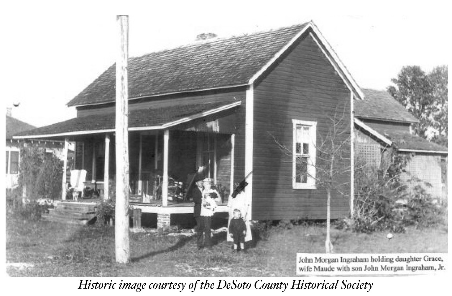 newspaper photo of ingraham family and house
