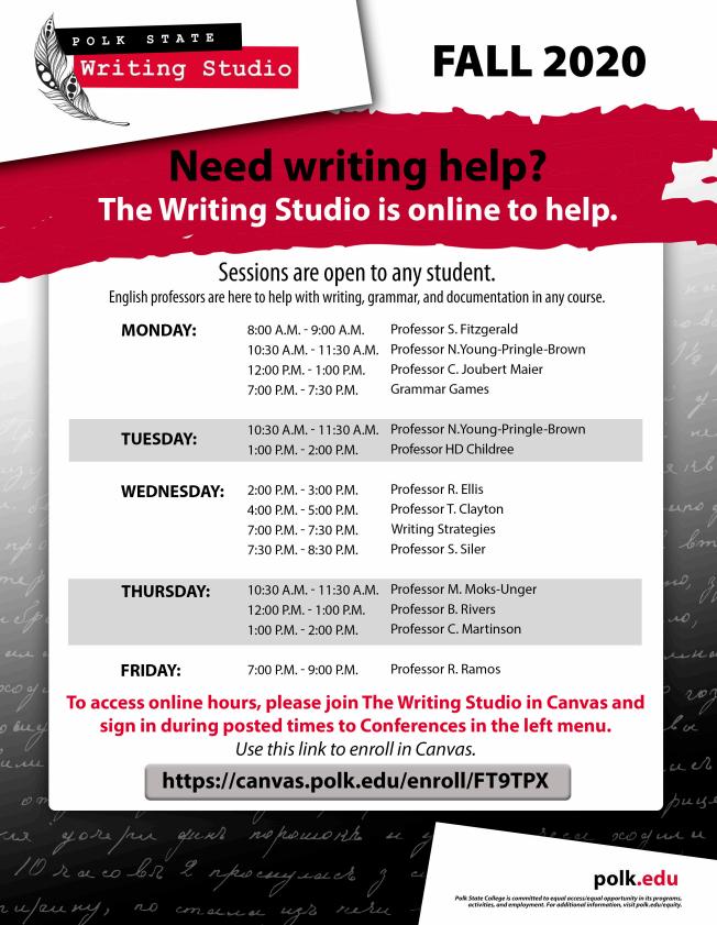 writing studio fall 2020 hours