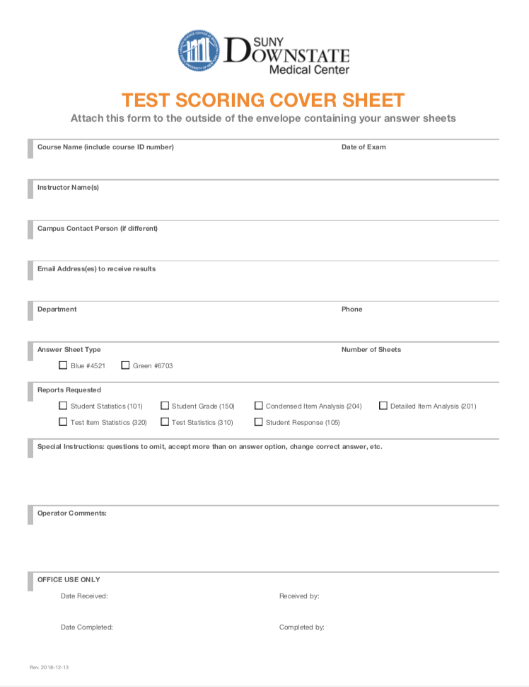 Scantron Test Scoring Cover Sheet