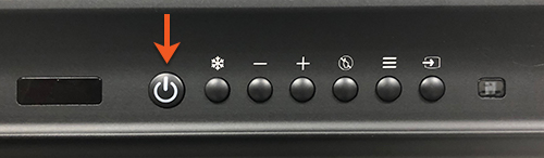 Photo of the power button of a Promethean smart board