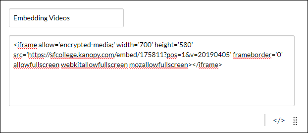 Pasted embed code in Canvas