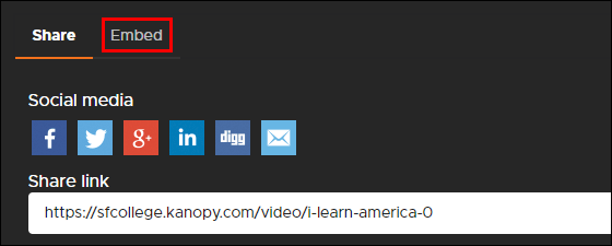 Embed link in Kanopy