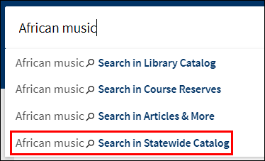 Search in Statewide Catalog option
