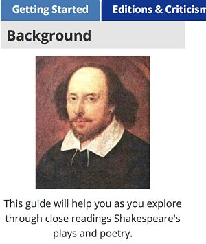 LibGuide using Shakespeare Image