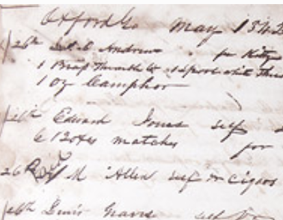 General store account book receipt showing 1842 purchase by