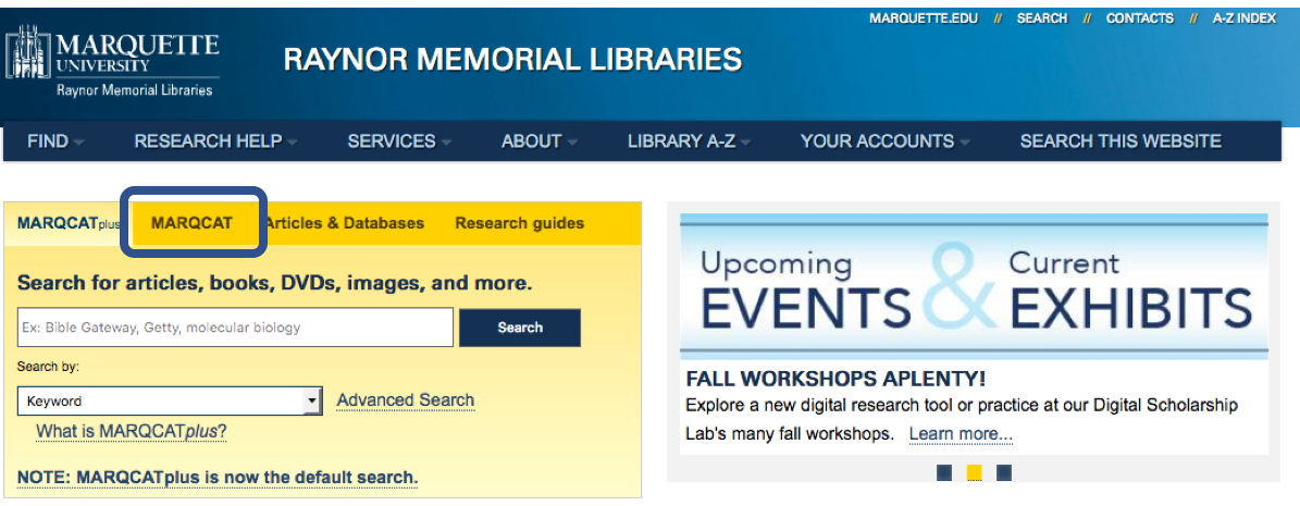 Screenshot of Marquette Library Homepage