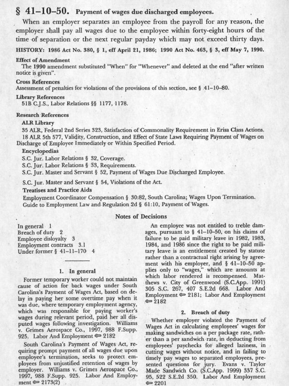The text of S.C. Code section 41-10-50 and its annotations from the print SC Code Annotated as described on the left.
