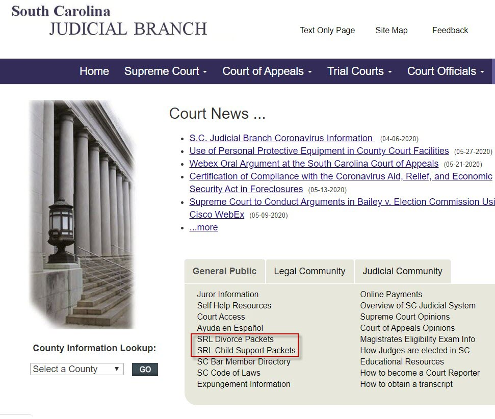 Home page of the SC Judicial Department showing a General Public tab in the middle of the page that contains form packets for divorce and child support.