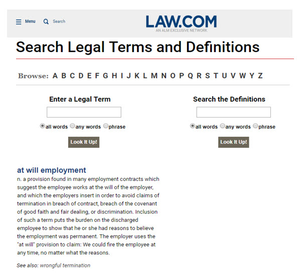"Image of LAW.COM's free legal dictionary for the term ""At-Will Employment"""