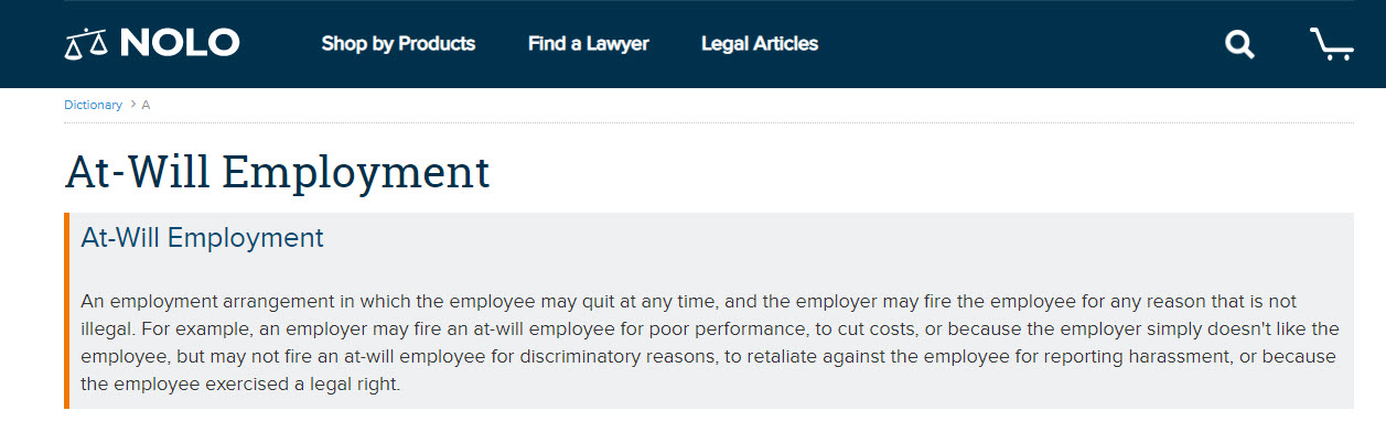 "Image of Nolo's Free Dictionary of Terms and Legal Definitions for the term ""At-Will Employment"""