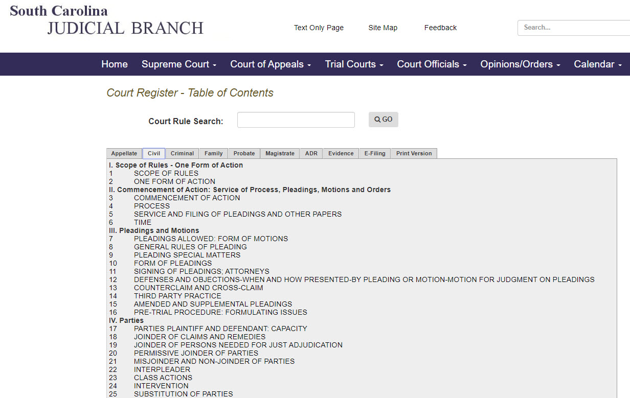 "South Carolina Judicial Department's website; link to Court Rules located to the right of the page under ""Quick Links"""