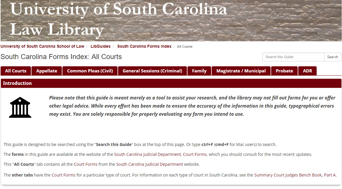 Home page of South Carolina Forms Index guide.