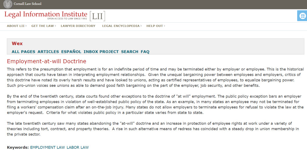 "Image of Wex online legal encyclopedia; entry for ""Employment-at-will Doctrine"""