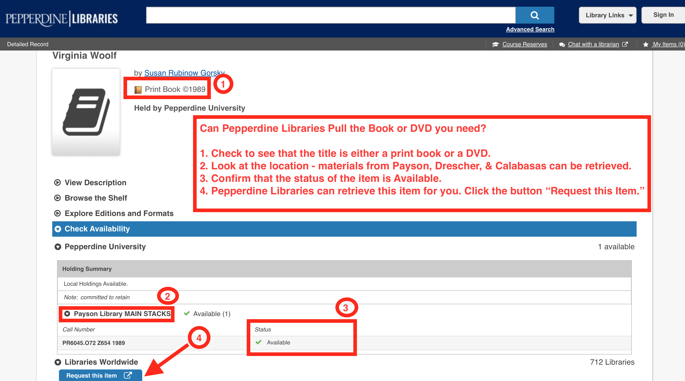 A screen capture that directs users to the different areas of the catalog that illustrate where to check to determine whether the title is a print book or DVD, held at Payson, Drescher, or Calabasas, and is currently Available.